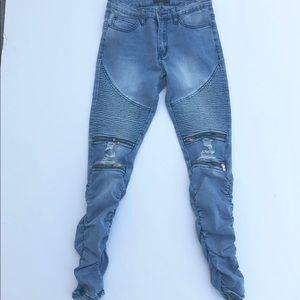 NWOT Fashion Nova Moto Zipper Jeans